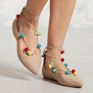 Women Beige Solid Pom Pom Ballerinas pointed toes